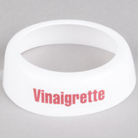 Tablecraft CM9 Imprinted White Plastic Vinaigrette Salad Dressing Dispenser Collar with Maroon Lettering