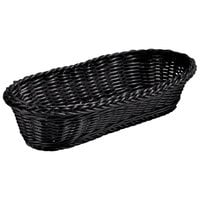 Tablecraft 2418 15 inch x 6 inch x 3 inch Black Oblong Rattan Basket   - 12/Pack