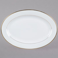 CAC GRY-14 Golden Royal 14 inch Bright White Oval Porcelain Platter - 12/Case