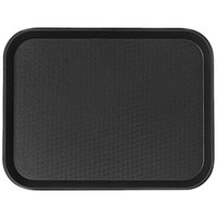 Cambro 1014FF110 10 inch x 14 inch Black Customizable Fast Food Tray - 24/Case