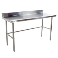 Regency 30 inch x 60 inch 16-Gauge 304 Stainless Steel Commercial Open Base Work Table with 4 inch Backsplash