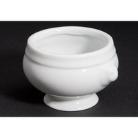 CAC LN-12-P 12 oz. Bright White Porcelain Lion Head Bouillon - 24/Case