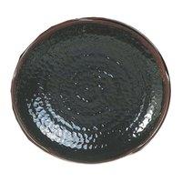 Thunder Group 1810TM Tenmoku Black 10 1/2 inch Lotus Shaped Melamine Plate - 12/Pack