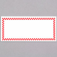 Rectangular Write On Deli Tag with Red Checkered Border