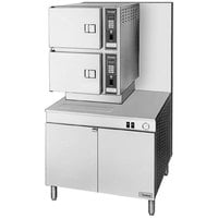 Cleveland 36-CGM-300 Classic Series Natural Gas 6 Pan Convection Floor Steamer with Boiler Base - 300,000 BTU