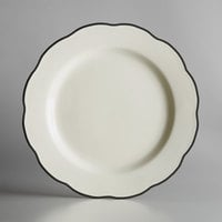 Choice 10 3/4 inch Ivory (American White) Scalloped Edge Stoneware Plate with Black Band - 12/Case