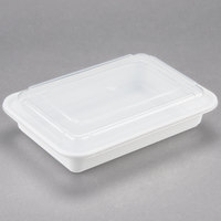 Newspring NC-868 28 oz. White 6 inch x 8 1/2 inch x 1 1/2 inch VERSAtainer Rectangular Microwavable Container with Lid - 150/Case