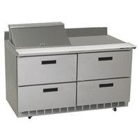 Delfield STD4460N-12M 60 inch 4 Drawer Mega Top Refrigerated Sandwich Prep Table with 4 inch Backsplash