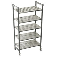 Cambro Camshelving Premium CPMS214875V5480 Mobile Shelving Unit with Standard Casters 21 inch x 48 inch x 75 inch - 5 Shelf