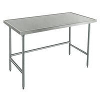 Advance Tabco Spec Line TVLG-487 48 inch x 84 inch 14 Gauge Open Base Stainless Steel Commercial Work Table