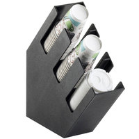 Cal-Mil 2048-3 Classic Black Slanted 3 Section Cup and Lid Holder - 4 1/2 inch x 16 1/4 inch x 16 1/4 inch