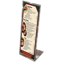 Menu Solutions MTPIX-414 Aluminum Menu Tent with Picture Corners - Swirl Finish - 4 1/4 inch x 14 inch