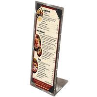 Menu Solutions MTPIX-414 Alumitique Aluminum Menu Tent with Picture Corners - Swirl Finish - 4 1/4 inch x 14 inch
