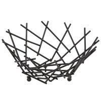 American Metalcraft FRUB12 Round Black Thatch Basket - 8 inch x 3 5/8 inch