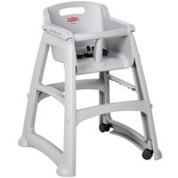 Rubbermaid FG780508PLAT Platinum Sturdy Chair Restaurant High Chair with Wheels - Assembled