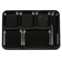 Carlisle 614R03 10 inch x 14 inch Black ABS Plastic Right Hand 6 Compartment Tray