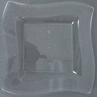 Fineline Wavetrends 109-CL 9 1/2 inch Clear Plastic Square Plate - 10/Pack