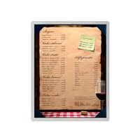 8 1/2 inch x 11 inch Menu Solutions ALSIN811-PIX6 Single Panel Brushed Aluminum Menu Board with Picture Corners