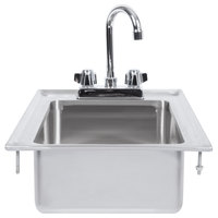 Regency 10 inch x 14 inch x 5 inch 16-Gauge Stainless Steel One Compartment Drop-In Sink with 8 inch Gooseneck Faucet