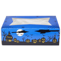 Southern Champion 2470 8 inch x 5 3/4 inch x 2 1/2 inch Blue-Violet Auto-Popup Window Cake / Bakery Box with Halloween Design - 200/Bundle