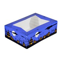 8 inch x 5 3/4 inch x 2 1/2 inch Blue-Violet Auto-Popup Window Cake / Bakery Box with Halloween Design - 200 / Bundle