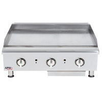 APW Wyott HTG-2436 Natural Gas 36 inch Heavy Duty Countertop Griddle with Thermostatic Controls - 96,000 BTU