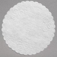 5 inch White Floral Linen Paper Doilies - 1000/Case