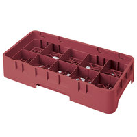 Cambro 10HS318416 Cranberry Camrack 10 Compartment 3 5/8 inch Half Size Glass Rack