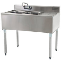 Eagle Group B3R-2-18 Compartment Underbar Sink with Right Drainboard and Splash Mount Faucet - 36 inch