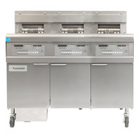 Frymaster FPGL330-4LCA Natural Gas Floor Fryer with Full Right Frypot / Two Left Split Pots and Automatic Top Off - 225,000 BTU
