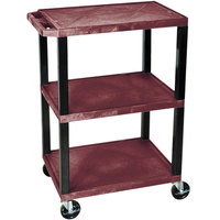 Luxor WT34BYS Burgundy 34 inch Three Shelf AV Utility Cart