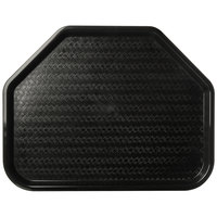 Carlisle CT1713TR03 Customizable Cafe 14 inch x 18 inch Black Trapezoid Plastic Fast Food Tray - 12/Case
