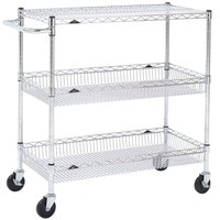 Metro Super Erecta BASCART-SR Chrome Three Shelf Utility Basket Cart with Casters - 18 inch x 36 inch x 40 inch