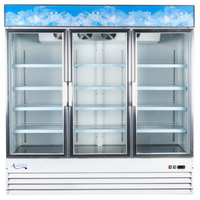 Avantco GDC-69 79 inch White Three Section Swing Glass Door Merchandising Refrigerator with LED Lighting