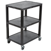 Luxor WT34S Tuffy Black Three Shelf Utility Cart - 24 inch x 18 inch x 34 inch