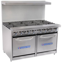 Bakers Pride Restaurant Series 48-BP-8B-S20 Natural Gas 8 Burner Range with Two Space Saver 20 inch Ovens