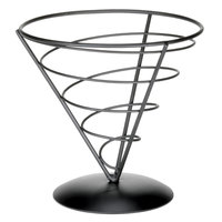 Tablecraft AC77 Vertigo Round Black Appetizer Wire Cone Basket - 7 inch x 7 inch