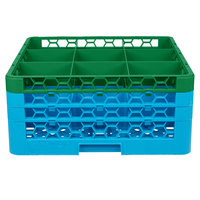 Carlisle RG9-3C413 OptiClean 9 Compartment Green Color-Coded Glass Rack with 3 Extenders