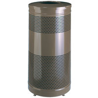 Rubbermaid FGS3ETHBZPL Hammertone Bronze Perforated Steel Waste Receptacle - 25 Gallon