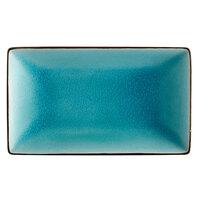CAC 666-33-BLU Japanese Style 5 inch x 3 1/2 inch Rectangular China Plate - Black Non-Glare Glaze / Lake Water Blue - 36/Case
