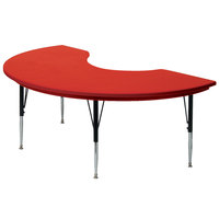 Correll AR4872 48 inch x 72 inch Red Plastic Adjustable Height Kidney Table
