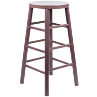 Lancaster Table & Seating Spartan Series 30 inch Metal Woodgrain Barstool with Wine Color Finish