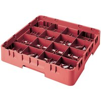 Cambro 16S638163 Camrack 6 7/8 inch High Customizable Red 16 Compartment Glass Rack