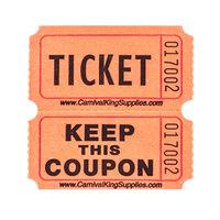 Carnival King Orange 2-Part Raffle Tickets - 2000 / Roll
