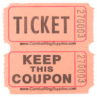 Carnival King Orange 2-Part Raffle Tickets - 2000/Roll