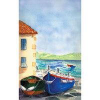 8 1/2 inch x 11 inch Menu Paper - Mediterranean Themed Venice Design Cover - 100/Pack