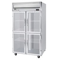 Beverage Air HFP2-1HG-LED 2 Section Glass Half Door Reach-In Freezer - 49 cu. ft., Stainless Steel Exterior