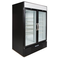 Beverage-Air MMF49-1-B-LED Black Marketmax 2 Glass Door Merchandising Freezer with LED Lighting and Swing Doors - 49 Cu. Ft.