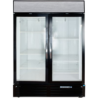Beverage Air MMF49-1-B-LED Black Marketmax 2 Glass Door Merchandising Freezer with LED Lighting and Swing Doors - 49 Cu. Ft.