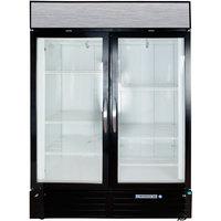 Beverage Air MMF49-1-B-LED Black Marketmax 2 Glass Door Merchandising Freezer with LED Lighting and Swing Doors - 49 Cu. Ft.